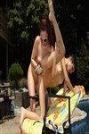 Leighlani Red has fun with a sexy lesbian in the pool